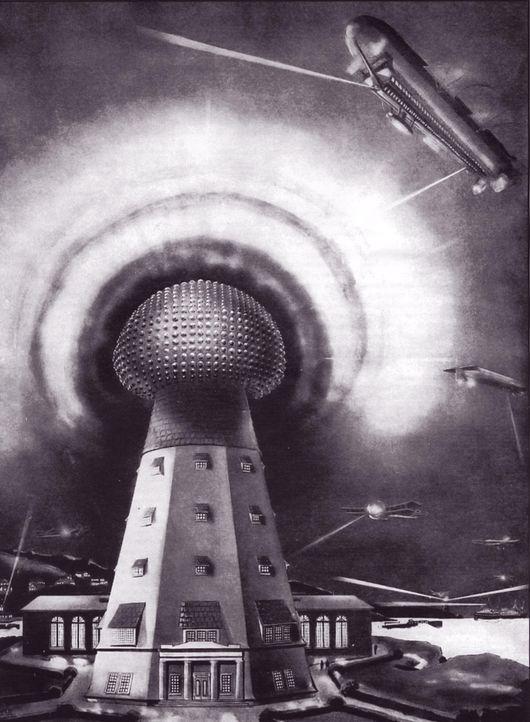 Die Zukunft der drahtlosen Technologie, wie sie sich Nikola Tesla im späten 19. Jahrhundert vorstellte: Tesla schlug weltweit Türme vor, die kabello... - Bildquelle: Marc Seifer Archives