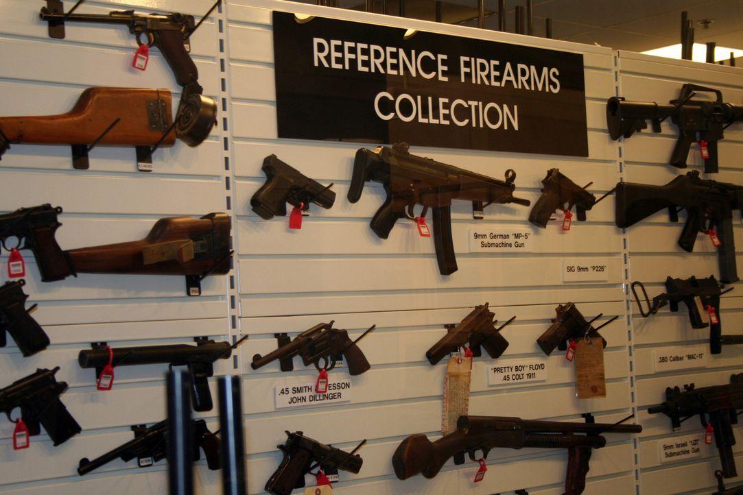 Wenn Ermittlungen an einem Tatort abgeschlossen sind, werden Beweisstücke wie Pistolen in Lagerhäusern verwahrt. Manche von ihnen werden ausgestellt... - Bildquelle: Courtesy of Perpetual Motion Films, Inc.