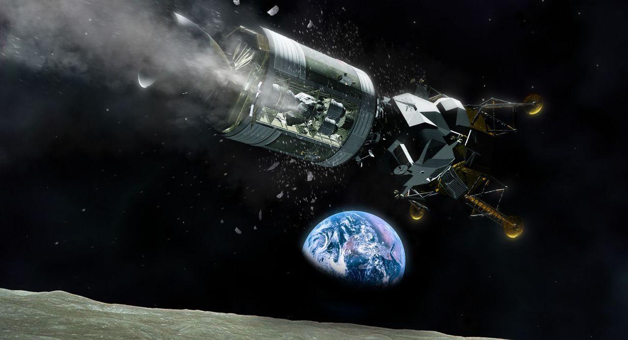 Dramatische Rettung im All: Nach der Explosion eines Tanks während des Apollo 13-Fluges zum Mond musste die geplante Mondlandung aufgegeben werden.... - Bildquelle: Nasa
