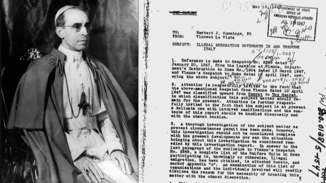 Nachdem 1945 die Nürnberger Prozesse begonnen hatten, halfen einige Mitglieder des Vatikans Nazis dabei, außer Landes zu fliehen. Wusste Papst Pius... - Bildquelle: Vivendi Content and Lets Pix Productions