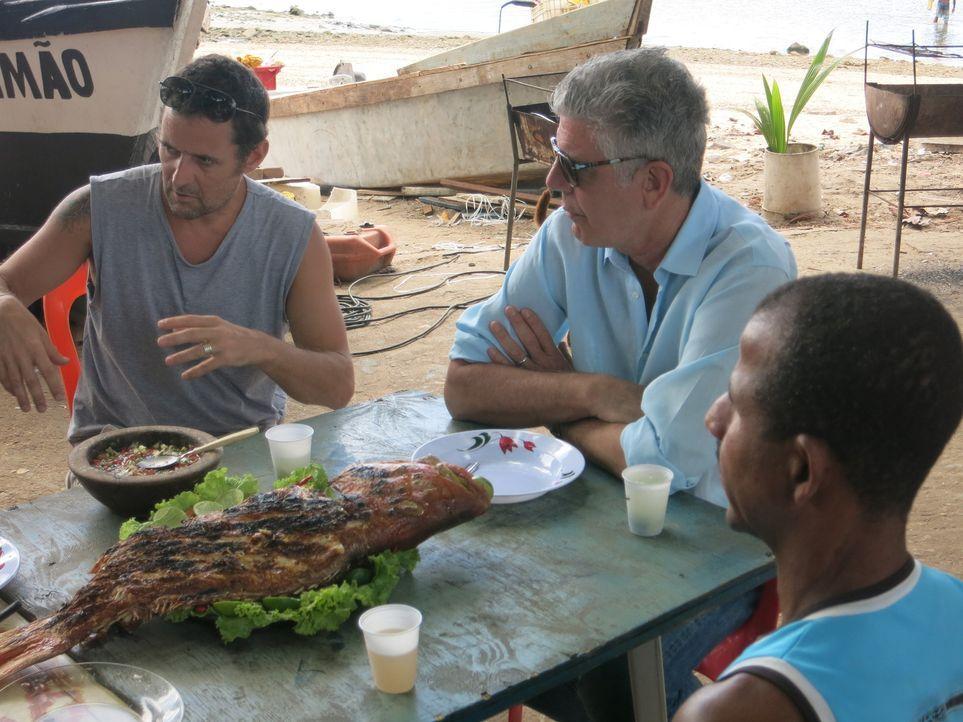 Anthony Bourdain (M.) trifft sich mit Maloca und dessen Fischern, um sich ein Bild davon zu machen, was die See und auch ihr Heimatland für diese Me... - Bildquelle: 2014 Cable News Network, Inc. A TimeWarner Company All rights reserved