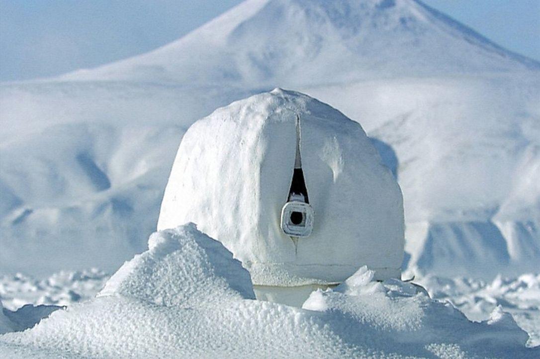 Gut getarnt im ewigen Eis: Die Tierfilmer um den britischen Tierforscher Sir David Attenborough haben die Kameras in einem kleinen Iglu versteckt. - Bildquelle: John Downer Productions