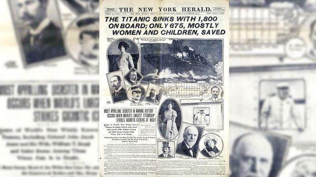 """Die Titelseite des """"New York Herald"""" am 15. April1912."""