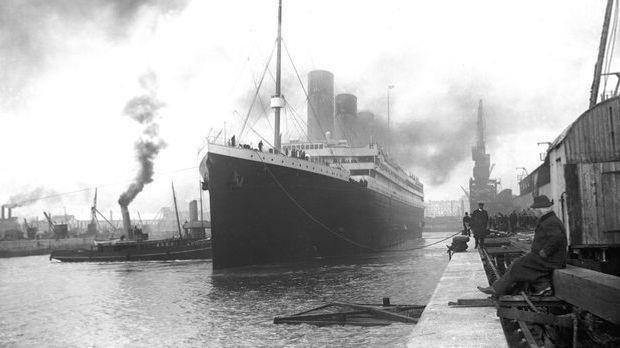 Die Titanic im Hafen von Southampton am 10. April 1912.