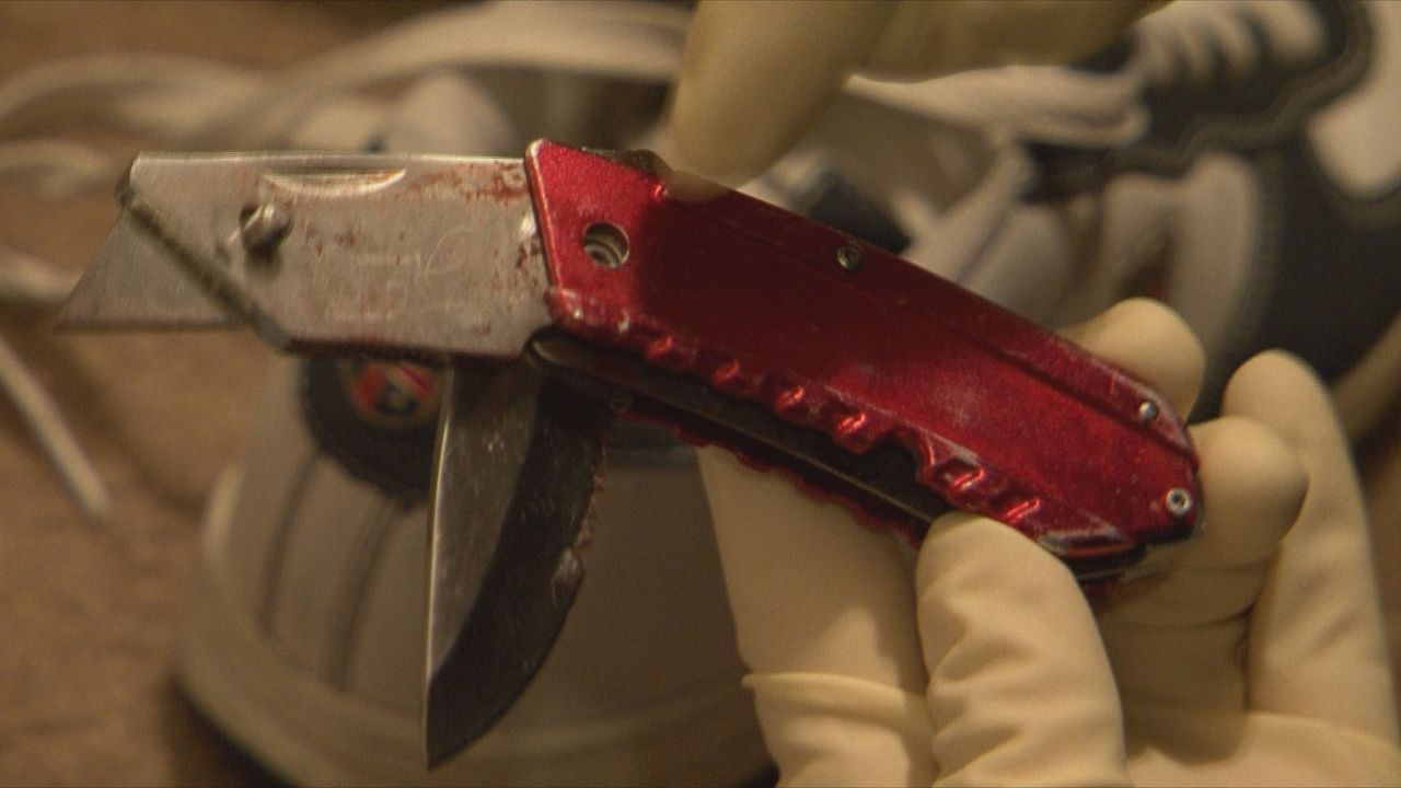 Neben einem blutigen Kleidungsstück finden die Ermittler auch ein Messer, das zum Täter führen könnte ... - Bildquelle: 2013 A&E Television Networks, LLC. All Rights Reserved
