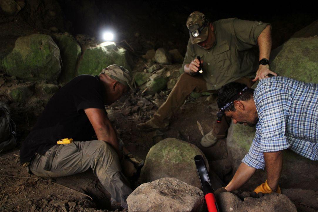 Als das Team bei seinen Grabungen auf eine mögliche Wasserfalle stößt, legt ... - Bildquelle: Licensed by A&E Television Networks, LLC